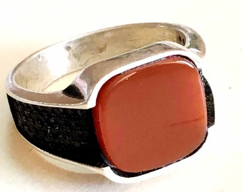 square 925 sterling silver mens rings natural red agate carnelian stone aqeeq