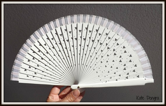 White Silver Bridal Heart Fret Wooden Hand Held Fan by Kate Dengra Spain Made to order