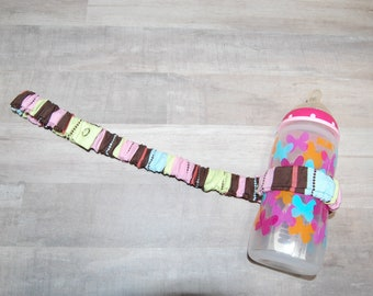 Sippy Cup Strap Pink, Green, & Chocolate Stripes - Ready to Ship