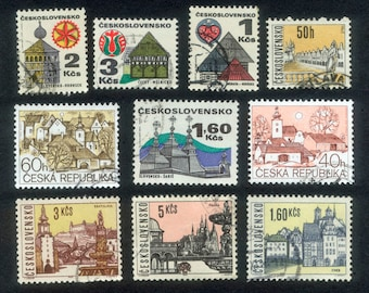 10 Building Postage Stamps - Czech Republic - Mixed Media, Decoupage, Artist Trading Cards