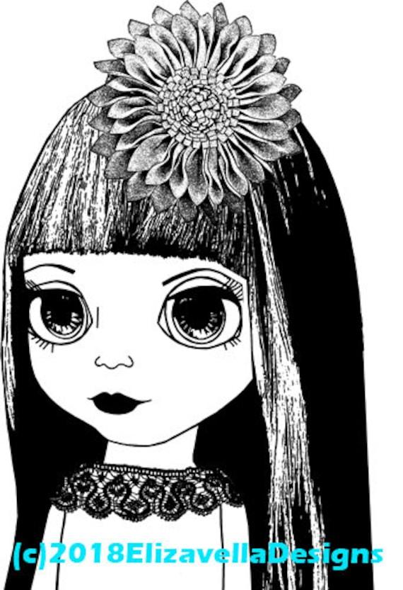 Big eye doll girl printable art nusery room art kids room art clipart png download digital dolly image graphics black and white artwork