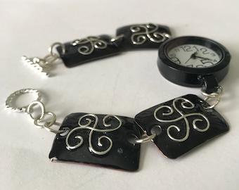 Black Copper Enameled Watch