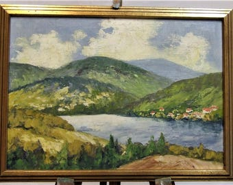 Original small oil painting European lake village landscape signed Gruner Mother Wife peaceful small ART GIFT