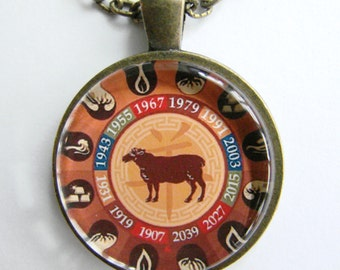 CHINESE YEAR of the SHEEP Necklace -- Chinese Zodiac for him and her, Chinese New Year, Astrological birthday present, Zodiac art