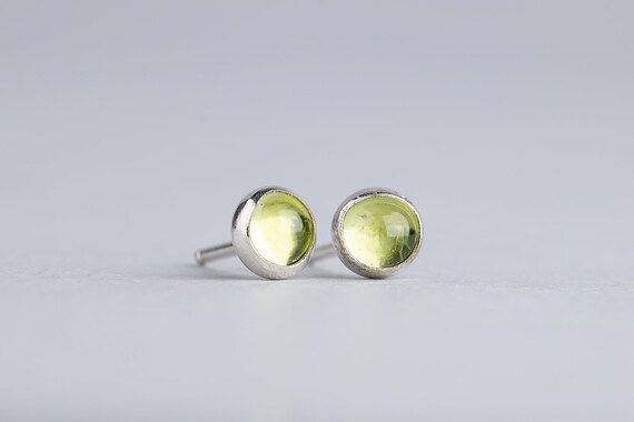 Lime Green Peridot Gemstone Post Stud Earrings in Sterling Silver