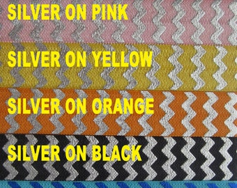 ON SALE = Foil CHEVRON Print Elastic - From 1 - 20 yards - List color choices in notes to seller on checkout, choose any colors