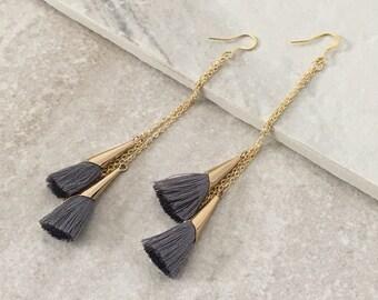 Tassel Earrings, Blue Gray Tassel Earrings,Long Tassel Earrings,Statement Earrings,Bohemian Style Jewelry,SKU:F125/6