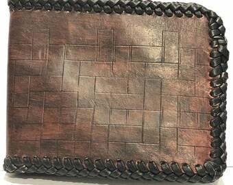 Handmade mahogany leather wallet