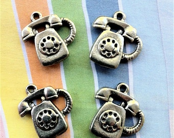 Telephone Charms -4 pieces-(Antique Pewter Silver Finish)--style 670--Free combined shipping