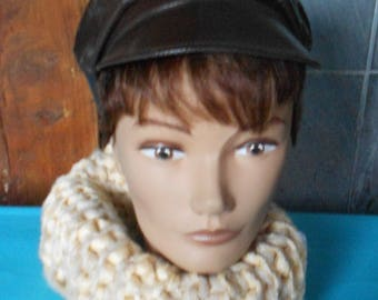 faux leather newsboy cap