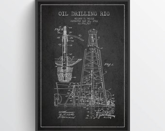 1911 Oil Drilling Rig Patent Wall Art Poster,Oil Drilling Poster, Texas Art, Home Decor, Gift Idea, PFEN02P