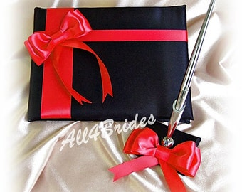 Black and Red wedding guest book and pen set