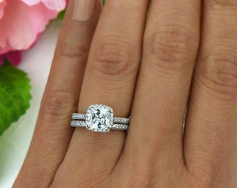 3/4 ctw Halo Wedding Set Delicate Bridal Rings Man Made