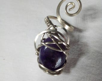 Adjustable ring with Amethyst