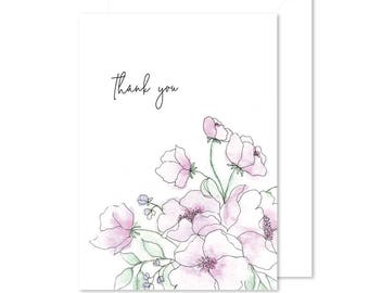 Watercolor Botanicals Note Card | Blank Card | Thank You Card