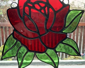 Rose flower stained glass suncatcher, red, white, yellow, romance, peace, friendship