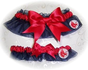 Boston Red Sox Wedding Garter Set  Handmade    Keepsake and Toss  Bridal nrr