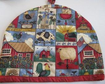 Red farm print teapot  cozy