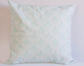 Scalloped pillow cover, green cushion cover, calm pillow cover, nursery decor, shell throw pillow, sea green