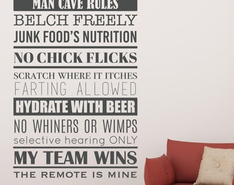 Man Cave Rules - Vinyl Wall Decal Quote