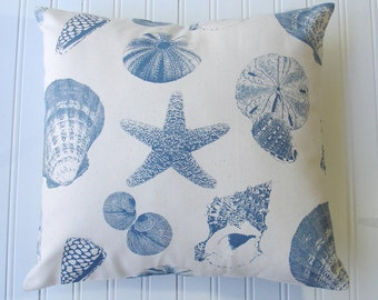 DECORATIVE THROW Pillows  16x16 BlueThrow Pillow Cover  Blue pillows Shells  Beach Cottage