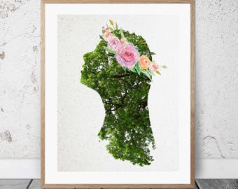 Mother Earth - INSTANT DOWNLOAD Printable Art - Goddess Wall Art - Floral Crown - Illustration
