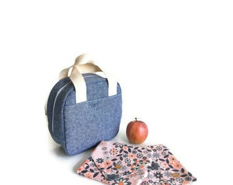 Zero waste Insulated lunch bag Gift for her Girlfriend gift Gifts for women Mothers day gift Lunch box Canvas Reusable sandwich bag