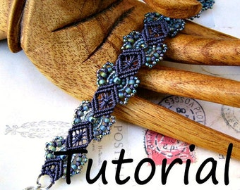 Micro Macrame Tutorial - Hydrangeas Bracelet Pattern - Beaded Macrame - Jewelry Making - DIY