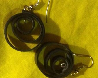 spiral black inner tube earrings