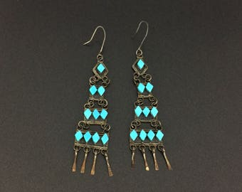 Vintage Zuni Indian Chandeliers Turquoise Sterling Silver Earrings