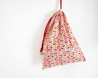 """Drawstring bag - Lingerie bag - Clothes bag - Luggage pouch - Travel pouch - 25x35 cm - 14x10"""" - Flowers - pink - coral - Graphic"""