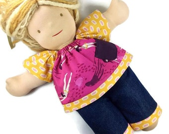15 inch Waldorf doll top / pants set PICK YOUR FABRICS, 18 inch girl doll outfit 15 inch bitty babies twin doll, fuschsia pink purple yellow