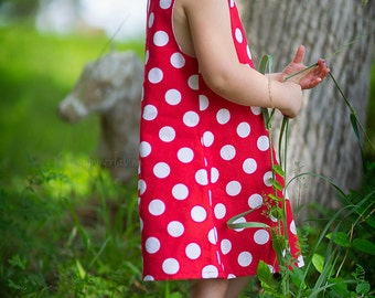 Baby toddler girl dress red polka dot pinafore jumper dress