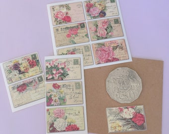 2 sheets of postcard style mini vintage stickers : decorative, junk journal, bullet journal,, PICK YOUR MIX