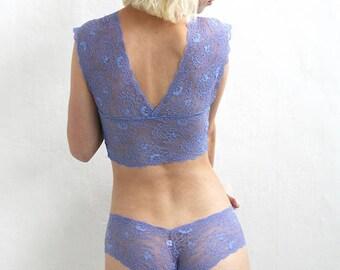 Lace Lingerie, Sheer Blue Lace Bralette, Sheer Lingerie, See Through Lingerie, Gift for her, Soft Lace Bralette, See through lingerie, lace