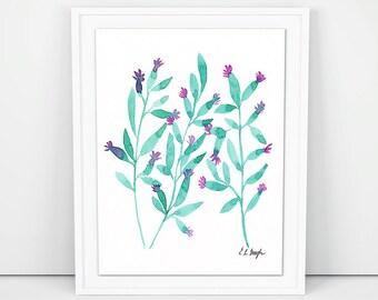 Watercolor Boho Leaf Art, original watercolor painting, teal, jade, watercolor botanical, wall art, plant painting, green watercolor artwork