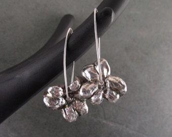 Fine silver flower earrings, handmade recycled silver jewelry, spinning floral earrings-OOAK