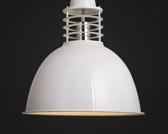 White Cage Pendant - hanging lamp - ceiling lighting - pendant lamp - edison bulb - industrial style - vintage lamp  - Edison bulb lamp