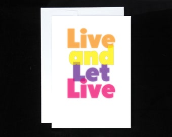 Live and Let Live Greeting Card | Recovery Gift, AA, 12 Step Recovery, Sobriety Gifts, Alcoholics Anonymous, Overeaters Narcotics