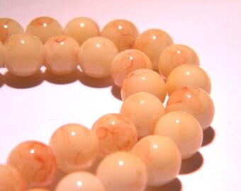 marbled glass - 8 mm beige slightly mottled Brown - PG53 20 beads