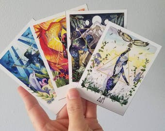 Elemental Spirit Art Set of 4 Mini-Prints (Water, Fire, Earth, and Air) Artist Trading Cards