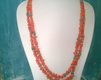 Double Strand Coral Necklace With Sleeping Beauty Turquoise From The 1990's