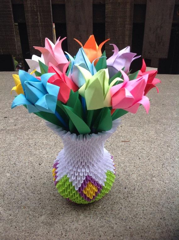Tulips Vase 3d Origami Home Decoration Handmade Gift