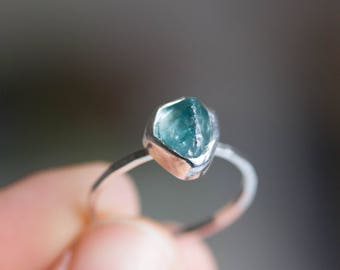 Raw Blue Zircon ring, OOAK sterling silver ring with rough gemstone, December Birthstone