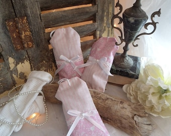 """Shabby chic pink and white """"stripes and birds"""" lavender sachet set of 3"""