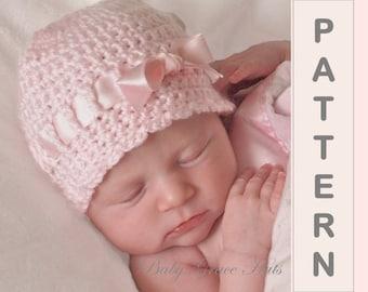 Baby Crochet Hat PATTERN Baby Girl Hat Easy Crochet Pattern, Newborn Crochet Hat Pattern, Baby Hat, Newborn Photo Prop Pattern,Crochet Prop