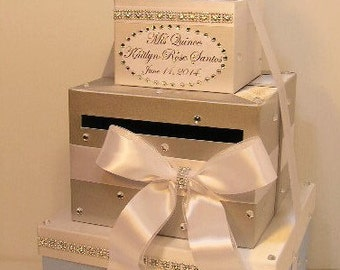 Quinceañera / Sweet 16 / Birthday /Wedding Card Box White Gift Card Box Money Box  Holder--Customize in your color-Custom Made