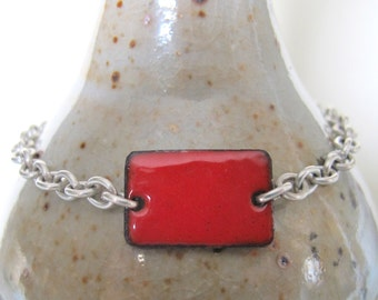 Red Bracelet, Enamel Bracelet, Silver Bracelet, Enameled Copper, Silver Chain, Chain Bracelet, Red Rectangle, Geometric Jewelry