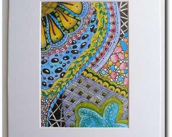 Mixed Media Matted Print - Doodle Art