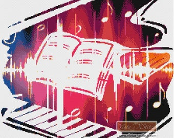 Abstract  piano - music counted cross stitch kit
